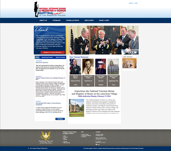 Register of Honor home page 10-29